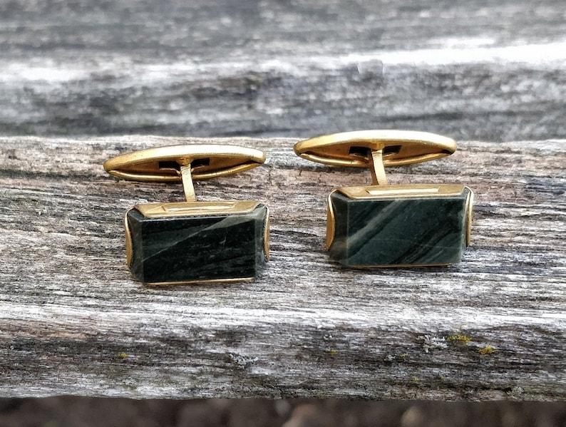 Dad Gift For Groomsmen Groom Vintage Forest Green Cufflinks Stone Cufflinks