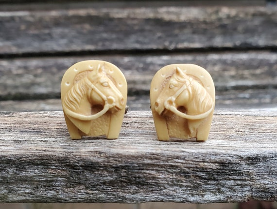 Vintage Carved Horse Cufflinks Equestrian Gift. Groomsmen Gift Groom Gift Sterling Silver Birthday Anniversary Gift For Dad