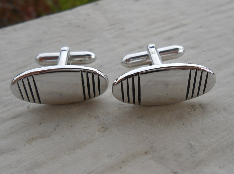 Mom 1990s Husband. Wife Vintage Abstract Silver  Cufflinks Gift For Dad