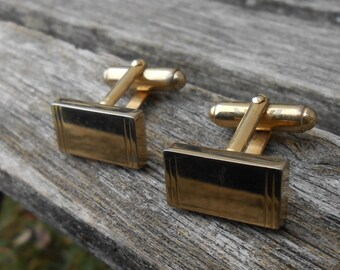 Vintage Gold Abstract Cufflinks. 1980s. Gift For Dad, Groomsmen, Gift for Husband.