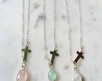 Delicate Layering Necklace with Mint Quartz