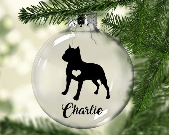 Pitbull Christmas Ornament.Pitbull Christmas Ornament
