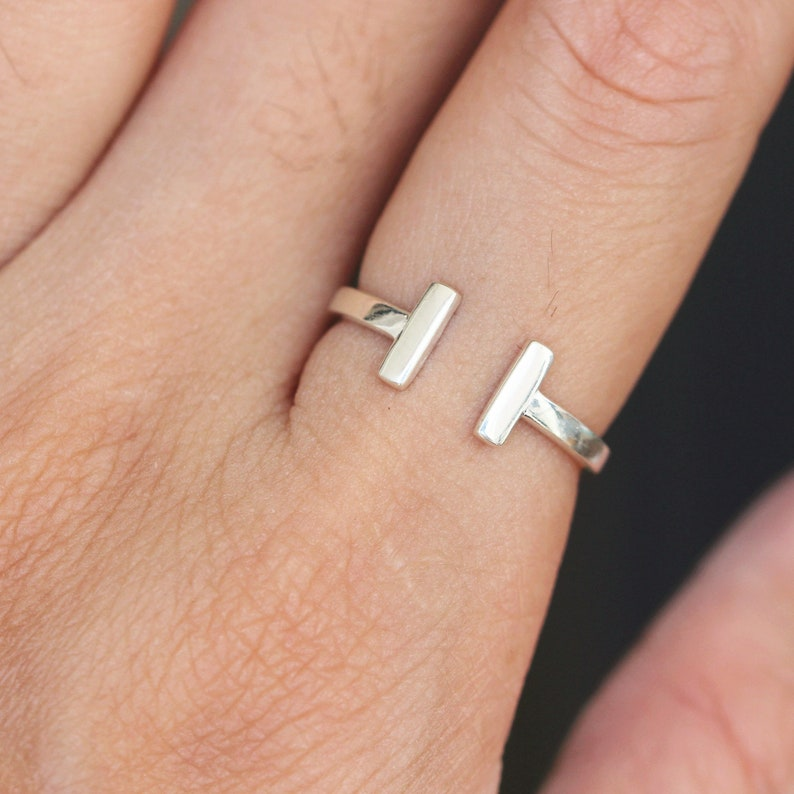 925 solid sterling silver Double Bar Ring,Open Bar Ring,Adjustable Two Bars Ring,Midi Knuckle Rings,Minimalist jewelry