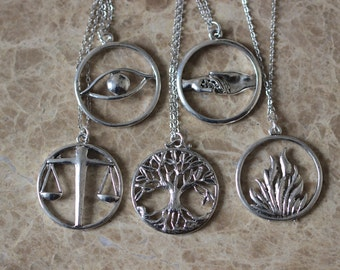 5pcs Antique Silver Dauntless, Abnegation, Amity, Candor Necklace ZH5N_S