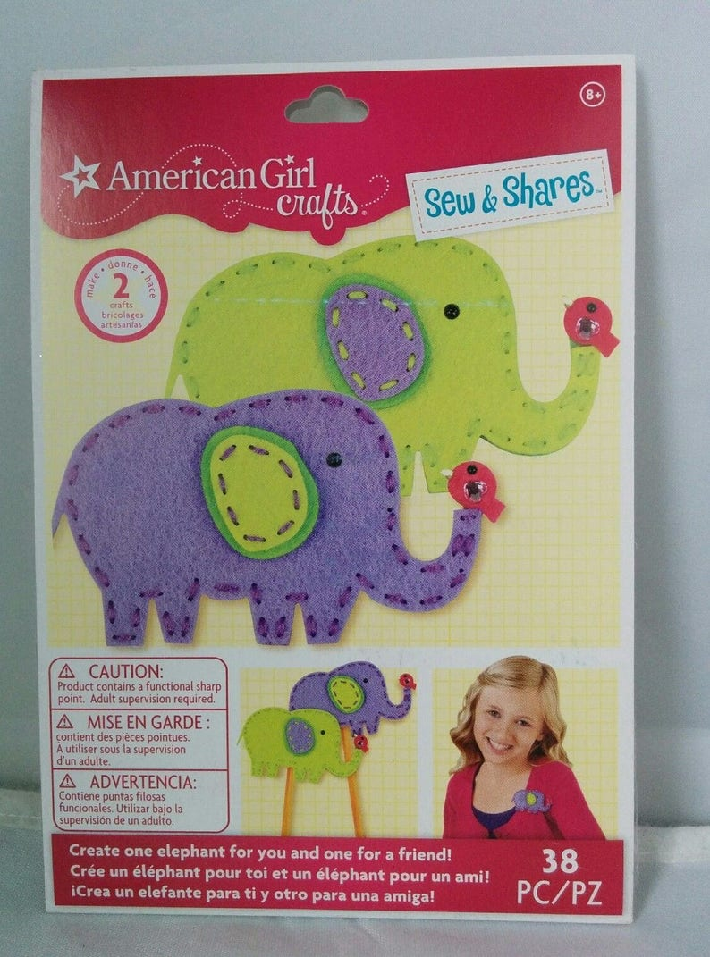 American Girl Doll Crafts Sew Shares Kit 2 Elephant Loot Bag Gift Party