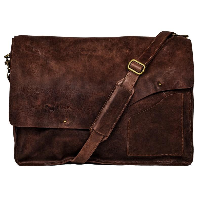 1c9d0fbb32fe0 KANZEK 18 Leather Laptop Bag / Messenger / Shoulder | Etsy