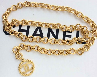 074207a3eb108b CHANEL CC Logo medallion charm chunky twisted gold chain belt vintage with  BOX