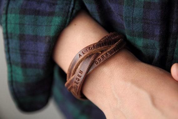 Personalisierte Geschenk Herren Armband Namen Armband Benutzerdefinierte Armband Lederarmband Für Papa Personalisierte Armband Geschenk Für