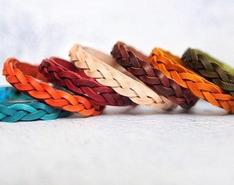 Personalized Braided Leather Bracelet Inspirational Bracelet woman gift for boyfriend Cuff Bracelet