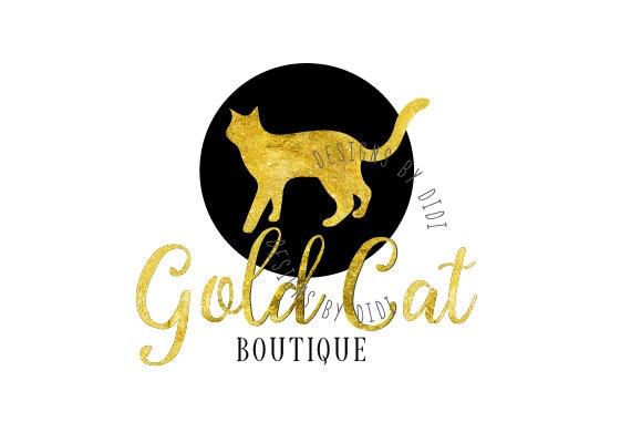 Cat Logo Design Gold Black Cat Logo Design Cat Business Etsy