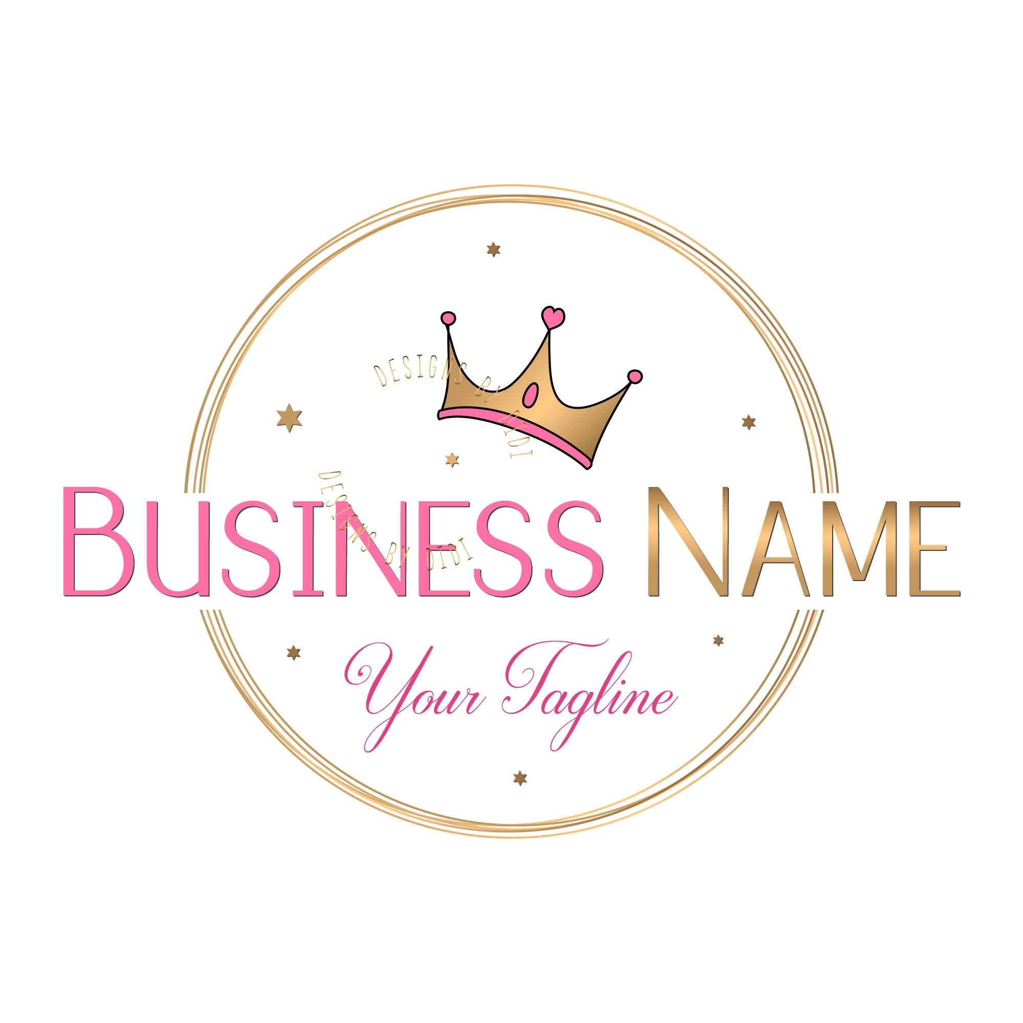 Crown Sparkle Gold Logo Design Princess Pink Gold Logo Pink Etsy