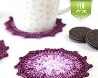 PDF crochet pattern - coaster pattern - crochet coasters - ombre coasters - DIY coasters - set of coasters - housewarming gift - coasters