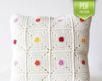 PDF crochet pattern - Hot spot pillow - pillowcase crochet - crocheted pillow - polka dot pillow - rainbow pillow