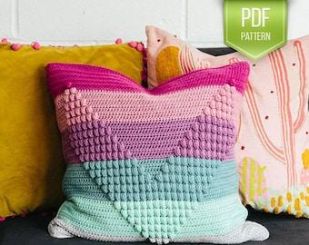 CROCHET PATTERN - Popcorn textured crochet pillow - Walk this way pillow - modern pillow - crocheted cushion - Textured pillow