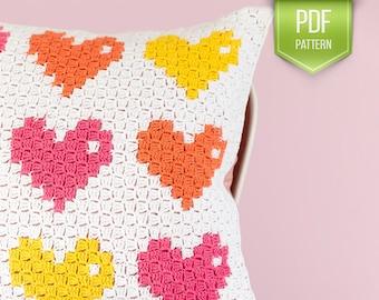 CROCHET PATTERN - C2C crochet pillow - 8-Bit love pillow - modern pillow - crocheted cushion - textured pillow