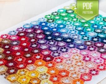 CROCHET PATTERN - Little Lily baby blanket - Rainbow crochet afghan - rainbow blanket - flower afghan - baby blanket