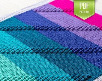 PDF crochet pattern - Crochet baby afghan - Bobble Track play blanket - popular crochet blanket - modern baby blanket - popcorn crochet -