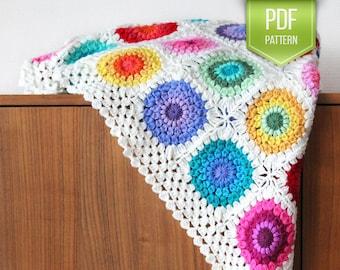 CROCHET PATTERN - Colour Wheel blanket - crochet blanket pattern, afghan pattern, rainbow blanket pattern, baby blanket - Instant download