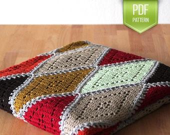 PDF crochet pattern - crochet blanket - afghan pattern - crochet throw - instant download - fall blanket - Spicy diamond blanket