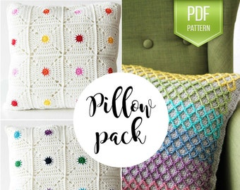 PDF crochet pattern - Crochet pillow pack with 10% discount - pack of 2 pillow cushion patterns - instant download