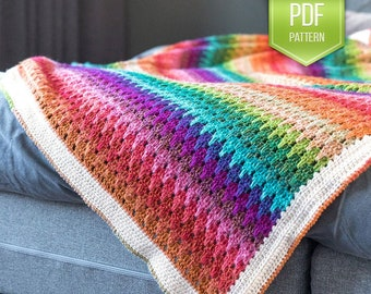 CROCHET PATTERN - crochet blanket - afghan pattern - crochet throw - instant download - rainbow blanket - Big Larksfoot Rainbow Blanket