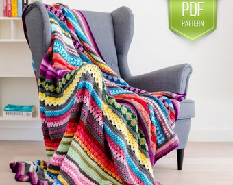 CROCHET PATTERN - Rainbow Sampler Blanket - crochet blanket afghan pattern - popular crochet pattern - Rainbow afghan - Scrapghan