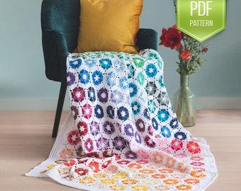 CROCHET PATTERN - Noëlle blanket - Rainbow crochet afghan - rainbow blanket - flower afghan