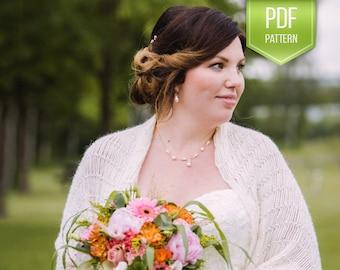 Bridal shawl - white wedding shawl - bridesmaids shawl - bridal cape - winter wedding - beaded stola - PDF crochet pattern