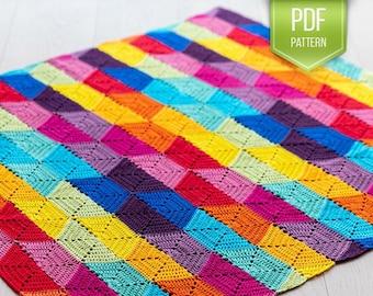CROCHET PATTERN - rainbow baby blanket - rainbow blanket - colourful blanket - geometric crochet blanket - Colourful State of Mind blanket