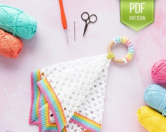 CROCHET PATTERN Baby Lovey - Prism baby lovey - baby shower gift - security toy