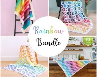 25% off: Crochet Rainbow blanket pack - CROCHET PATTERNS - Rainbow crochet blankets - pack of 4 crochet baby blankets - instant download
