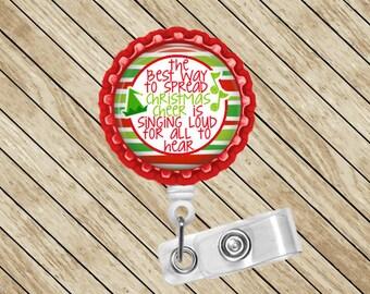 Retractable Badge Holder, Badge Reel, Christmas Cheer, ID Badge Reel, Badge Clip, Nurse Gift, Cute Badge Reel, Felt Badge Reel