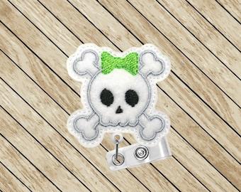 Skull and Crossbones, Badge Clip, Badge Reel, Cute Badge Reel, ID Badge Reel, Retractable Badge Holder, Nurse Gift, Felt Badge Reel