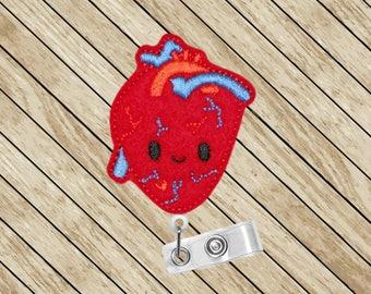 Heart Badge Reel, Cardiology, ID Badge Reel, Retractable Badge Holder, Badge Reel, Badge Clip, Cardiologist, Cute Badge Reel, Felt Badge