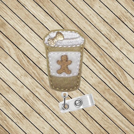 Pain d'épice, café au lait, Badge traction, feutre porte-Badge Badge, ID ID Badge enrouleur, porte-Badge rétractable, infirmière, cordon porte-Badge, cadeau Noël
