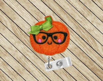Pumpkin, Nerdy, ID Badge Reel, Fall Harvest, Retractable Badge Holder, Badge Reel, Badge Clip, Nurse Gift, Cute Badge Reel, Felt Badge Reel