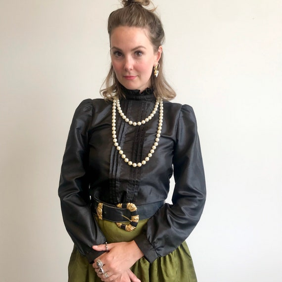 Vintage Blouse / Victorian Edwardian Style / 1980s