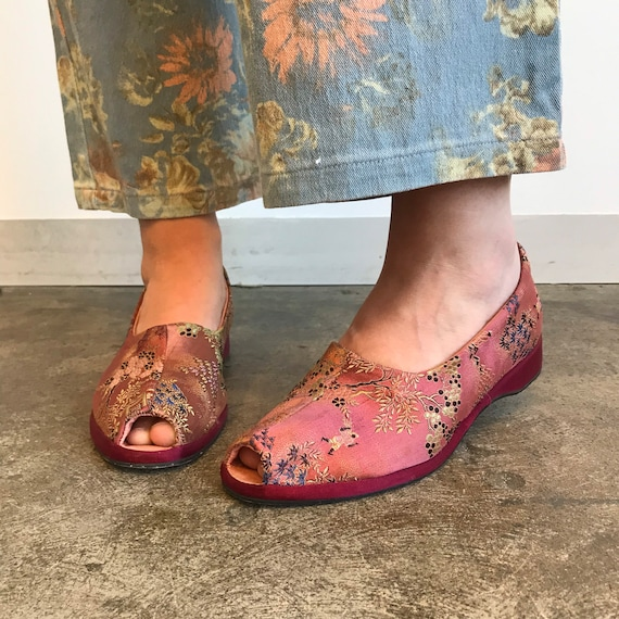 70s does 30s Satin Brocade Slip Ons / Chinese Slip
