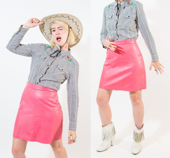 Bubblegum Pink Leather Mini Skirt / 1980s / Size S