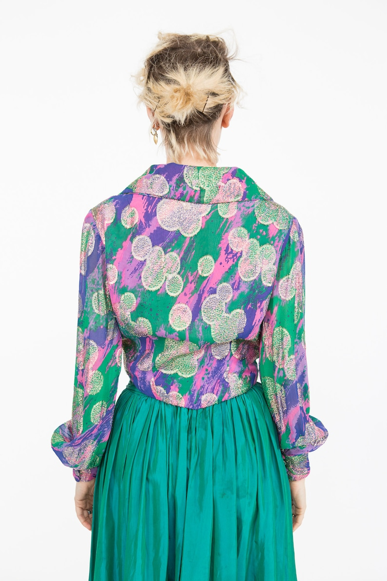 Rainbow Silk /& Gold Lame Psychedelic 70s Blouse w LARGE Lapels  Size S