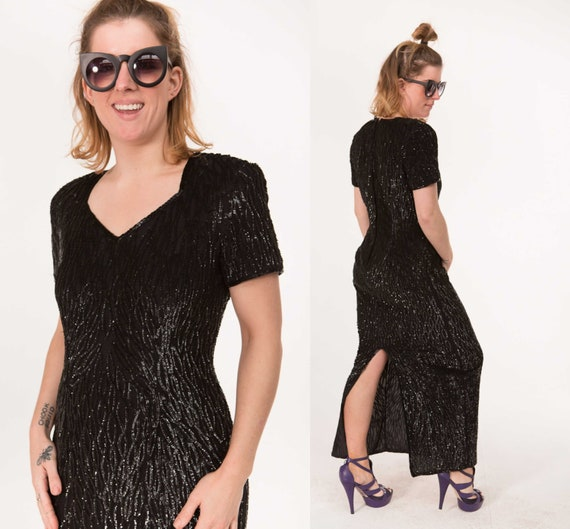 Black Sequin Gown / Full Length / 1990s Cocktail A
