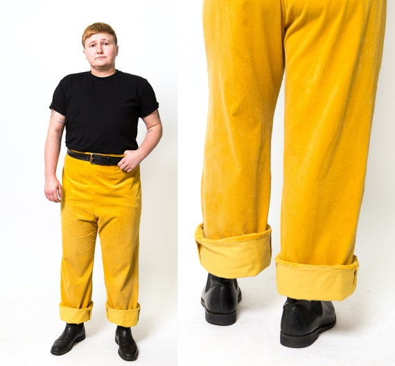 Retro Yellow Corduroy Trousers / Golden Yellow Pan