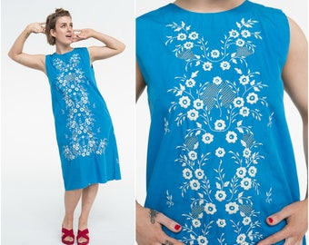 Embroidered Mexican Shift Dress / 60s Cobalt / Size M