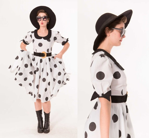 Polka Dot Party Frock / 1980s Monochrome Western D