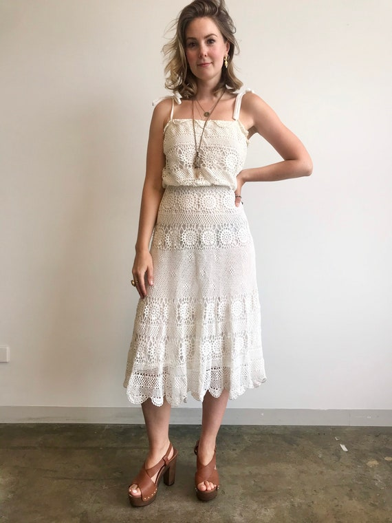 Retro Crochet Summer Dress / 1970s / White Summer