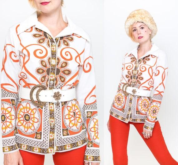 Retro Tunic Top  1970s Earthy Tones Pattern Shirt  Size S-M