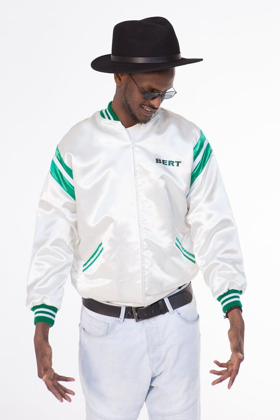 Bert/'s Varsity Jacket  White Satin  1970s  Size M