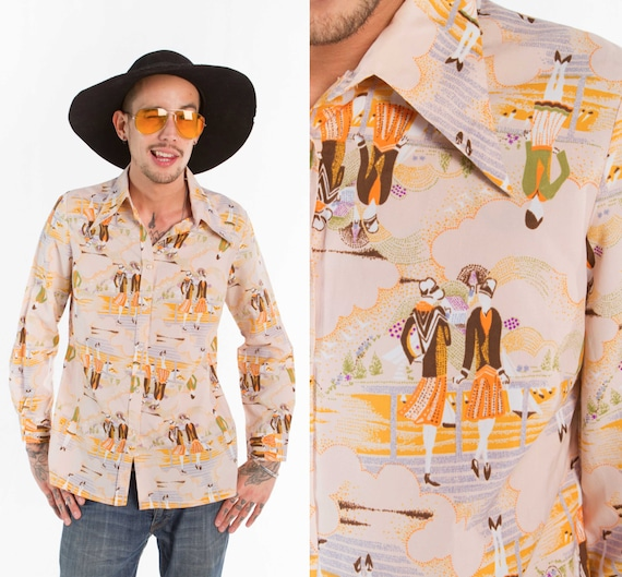 Retro 70s Shirt / Tableau 30's Scene / Size S-M