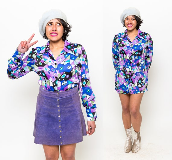 WILD 90's does 70's Trippy Blouse / Psychedelic Ge
