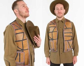 Retro Sheep Skin Patchwork Vest / Workwear / Size M